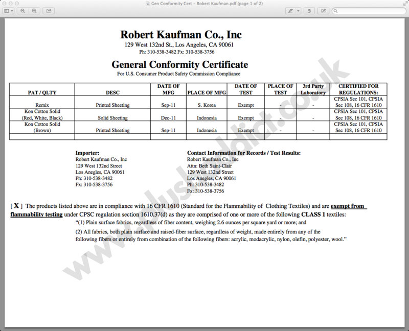 Fabric Certification – Certificate of Conformance Template